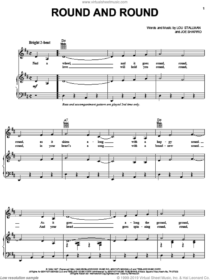 Round And Round sheet music for voice, piano or guitar by Lou Stallman and Perry Como. Score Image Preview.