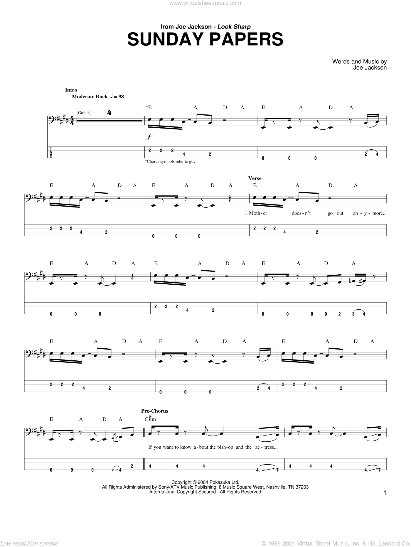 Sunday Papers sheet music for bass (tablature) (bass guitar) by Joe Jackson