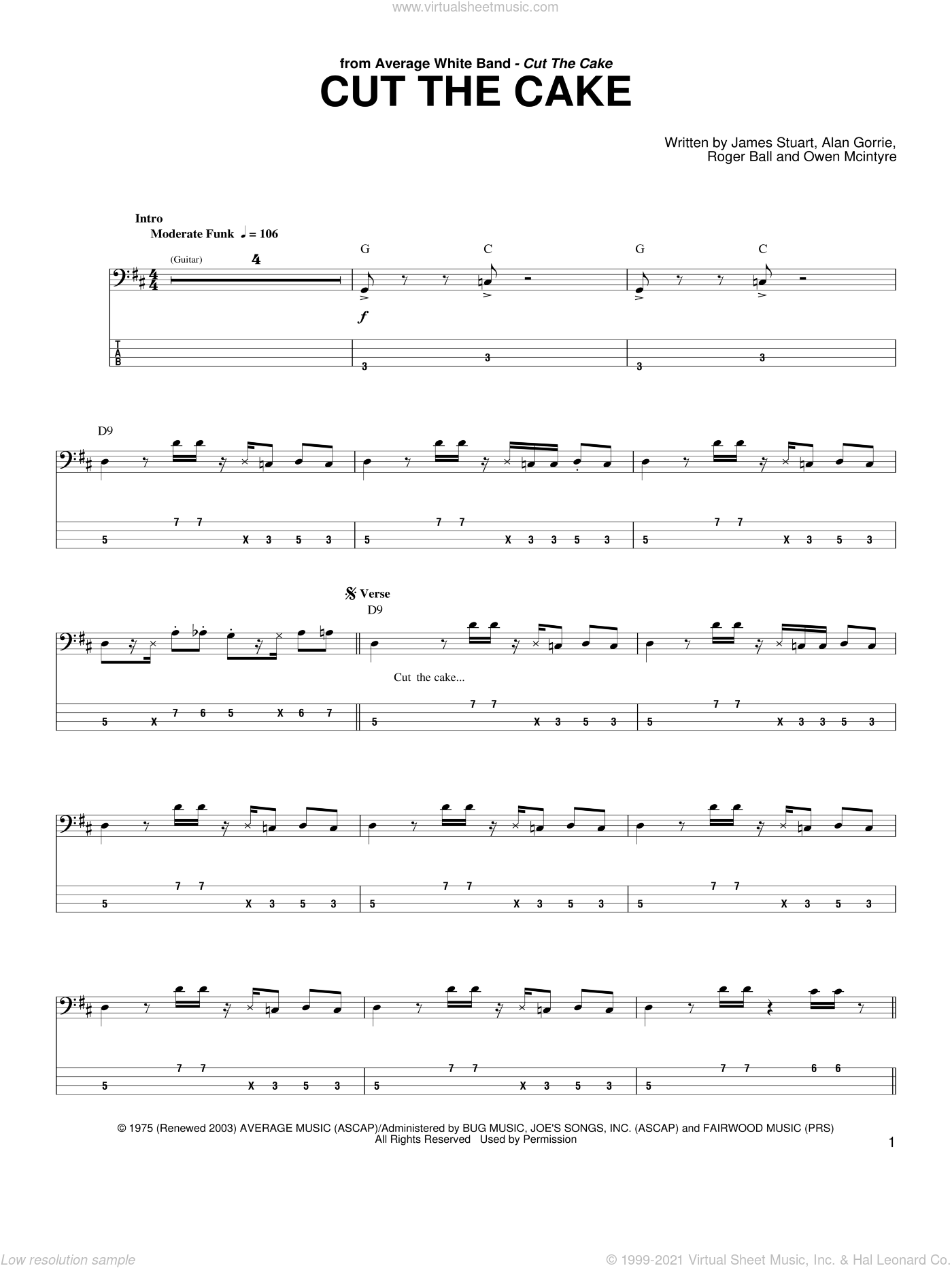 Cut The Cake sheet music for bass (tablature) (bass guitar) by Average White Band, Alan Gorrie, Robbie McIntosh and Roger Ball. Score Image Preview.