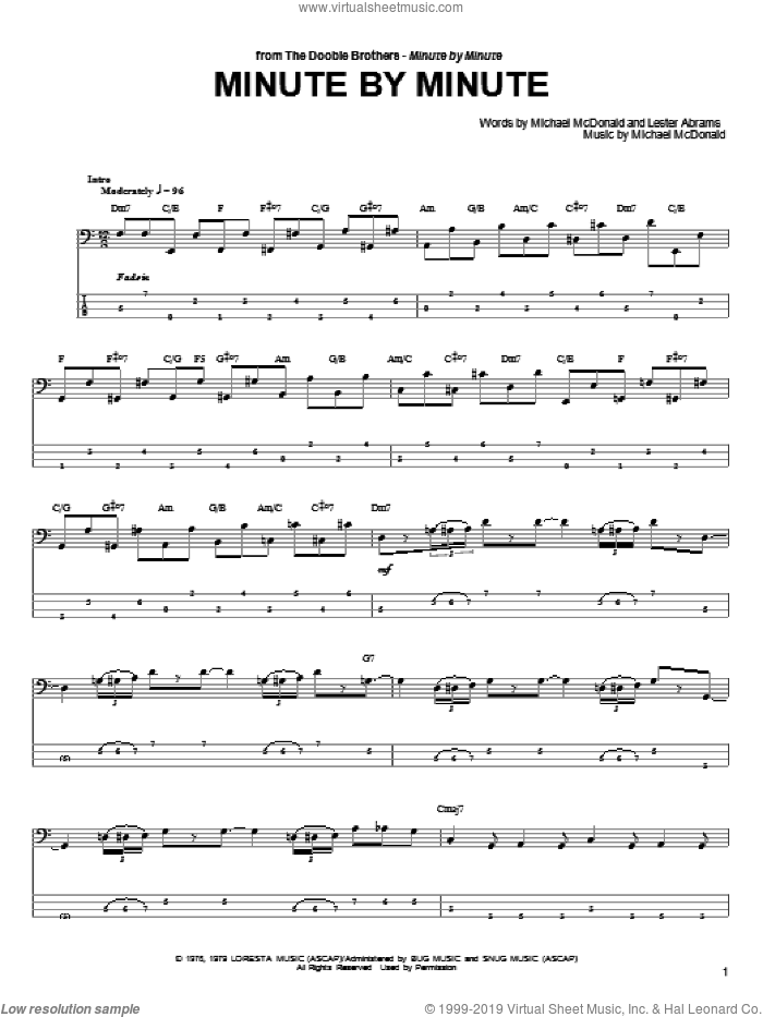 Minute By Minute sheet music for bass (tablature) (bass guitar) by Lester Abrams, The Doobie Brothers and Michael McDonald. Score Image Preview.