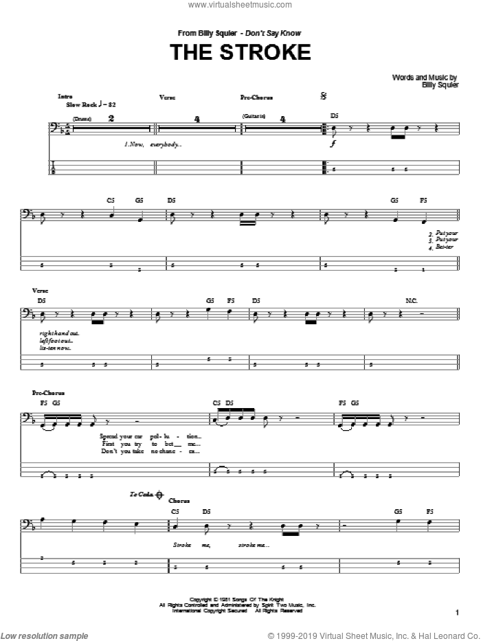The Stroke sheet music for bass (tablature) (bass guitar) by Billy Squier, intermediate skill level