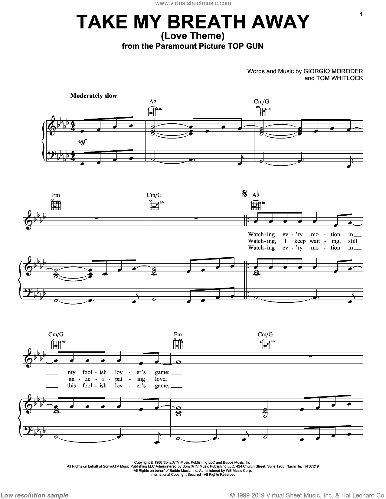 Take My Breath Away (Love Theme) sheet music for voice, piano or guitar by Tom Whitlock
