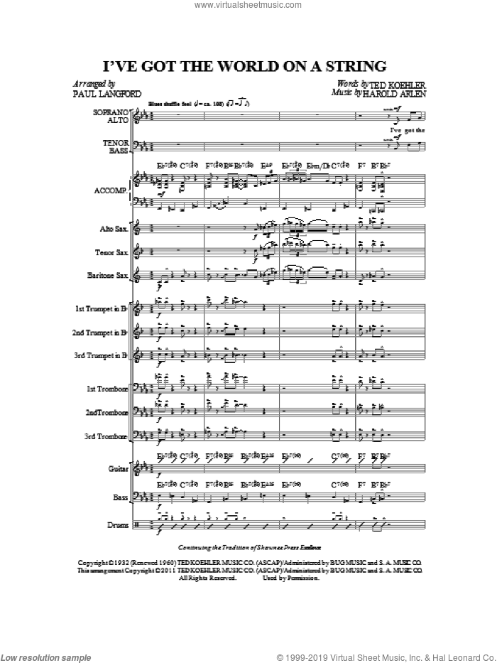 I've Got The World On A String (complete set of parts) sheet music for orchestra/band by Harold Arlen, Ted Koehler and Paul Langford, intermediate skill level