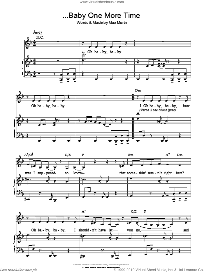 ...Baby One More Time sheet music for voice and piano by Britney Spears, intermediate. Score Image Preview.