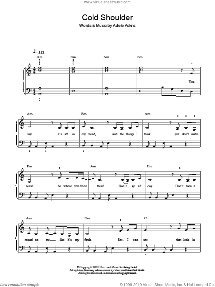 Cold Shoulder sheet music for piano solo by Adele and Adele Adkins, easy skill level
