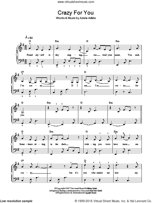 Crazy For You sheet music for piano solo by Adele. Score Image Preview.