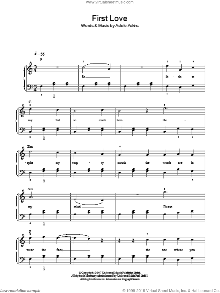 First Love sheet music for piano solo by Adele Adkins and Adele. Score Image Preview.