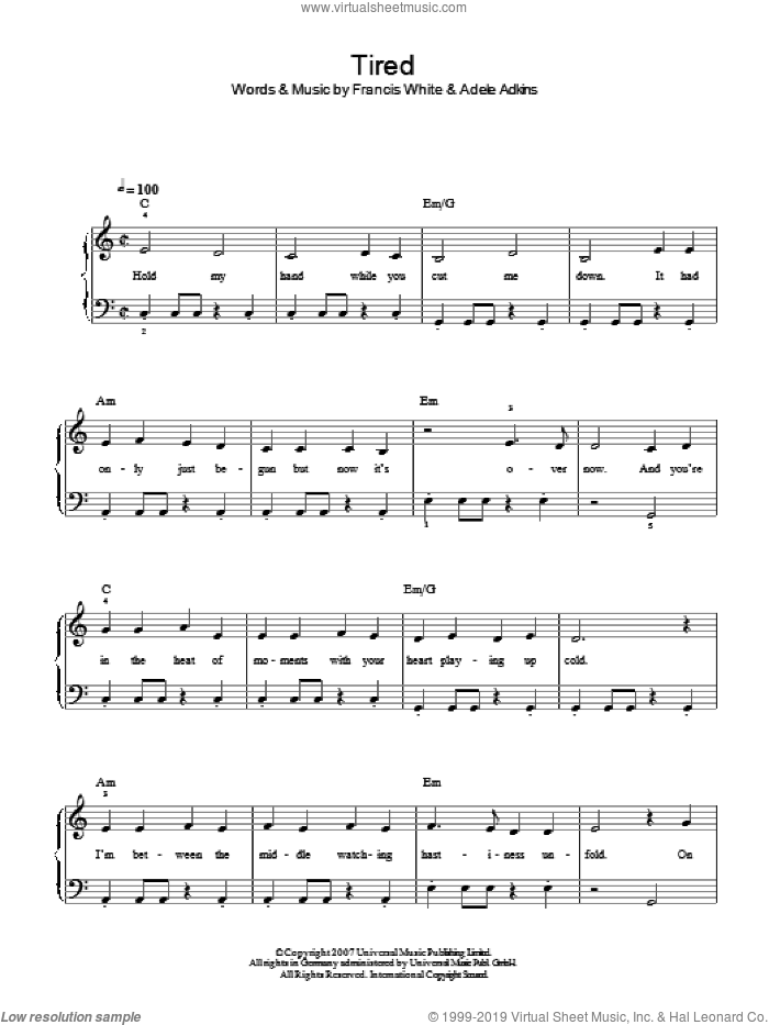 Tired sheet music for piano solo by Adele, easy piano. Score Image Preview.