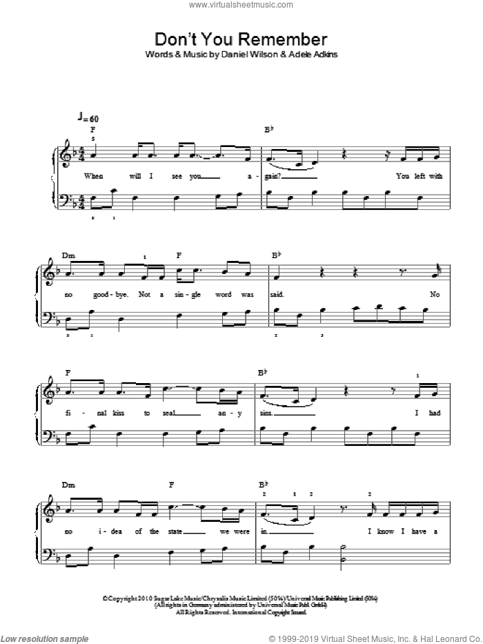 Don't You Remember sheet music for piano solo by Dan Wilson, Adele and Adele Adkins. Score Image Preview.