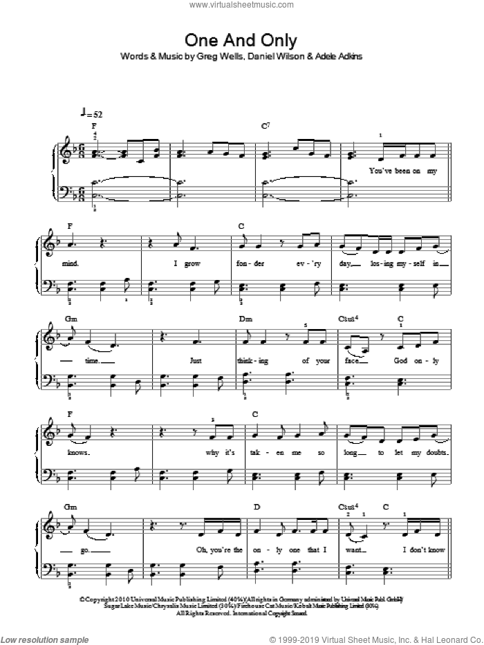 One And Only sheet music for piano solo by Greg Wells