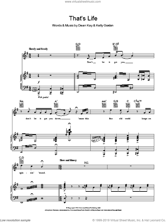 That's Life sheet music for voice, piano or guitar by Michael Buble, Frank Sinatra, Dean Kay and Kelly Gordon, intermediate skill level