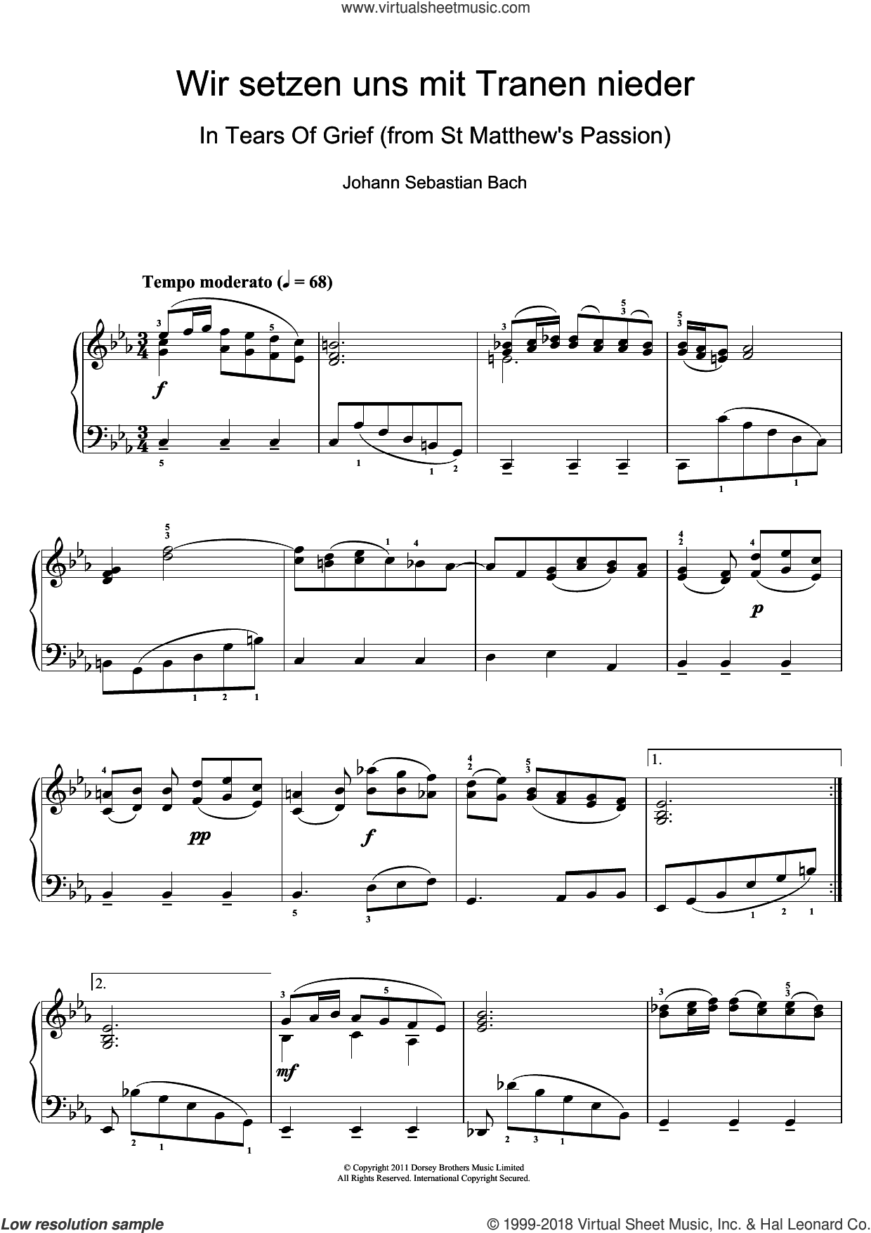 Wir setzen uns mit Tranen nieder sheet music for piano solo by Johann Sebastian Bach, classical score, intermediate skill level