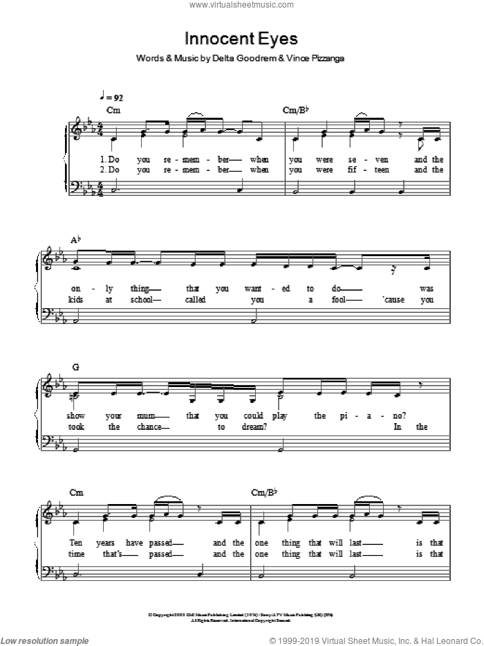 Innocent Eyes sheet music for piano solo by Delta Goodrem and Vince Pizzinga, easy skill level