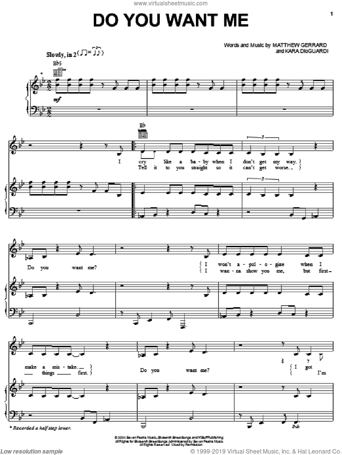Do You Want Me? sheet music for voice, piano or guitar by Matthew Gerrard