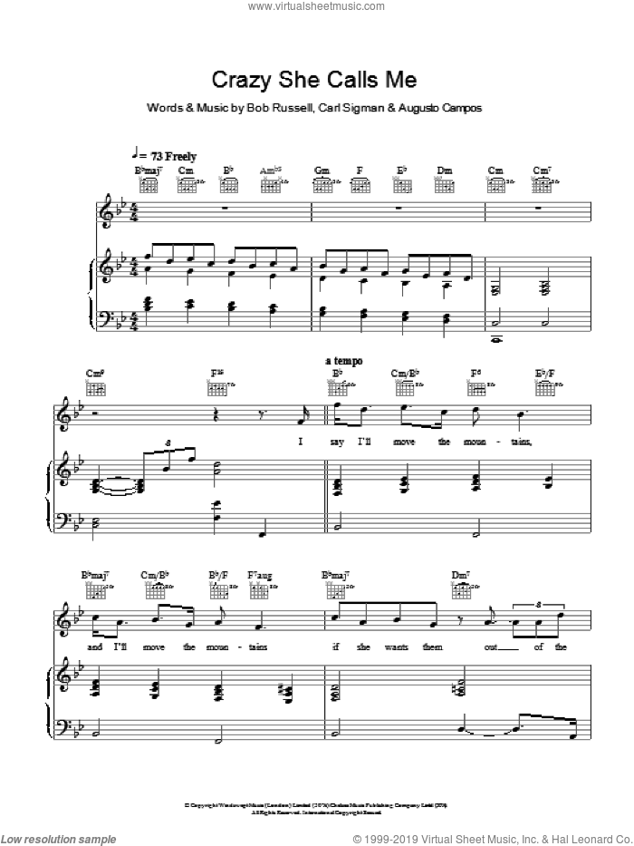 Crazy She Calls Me sheet music for voice, piano or guitar by Carl Sigman