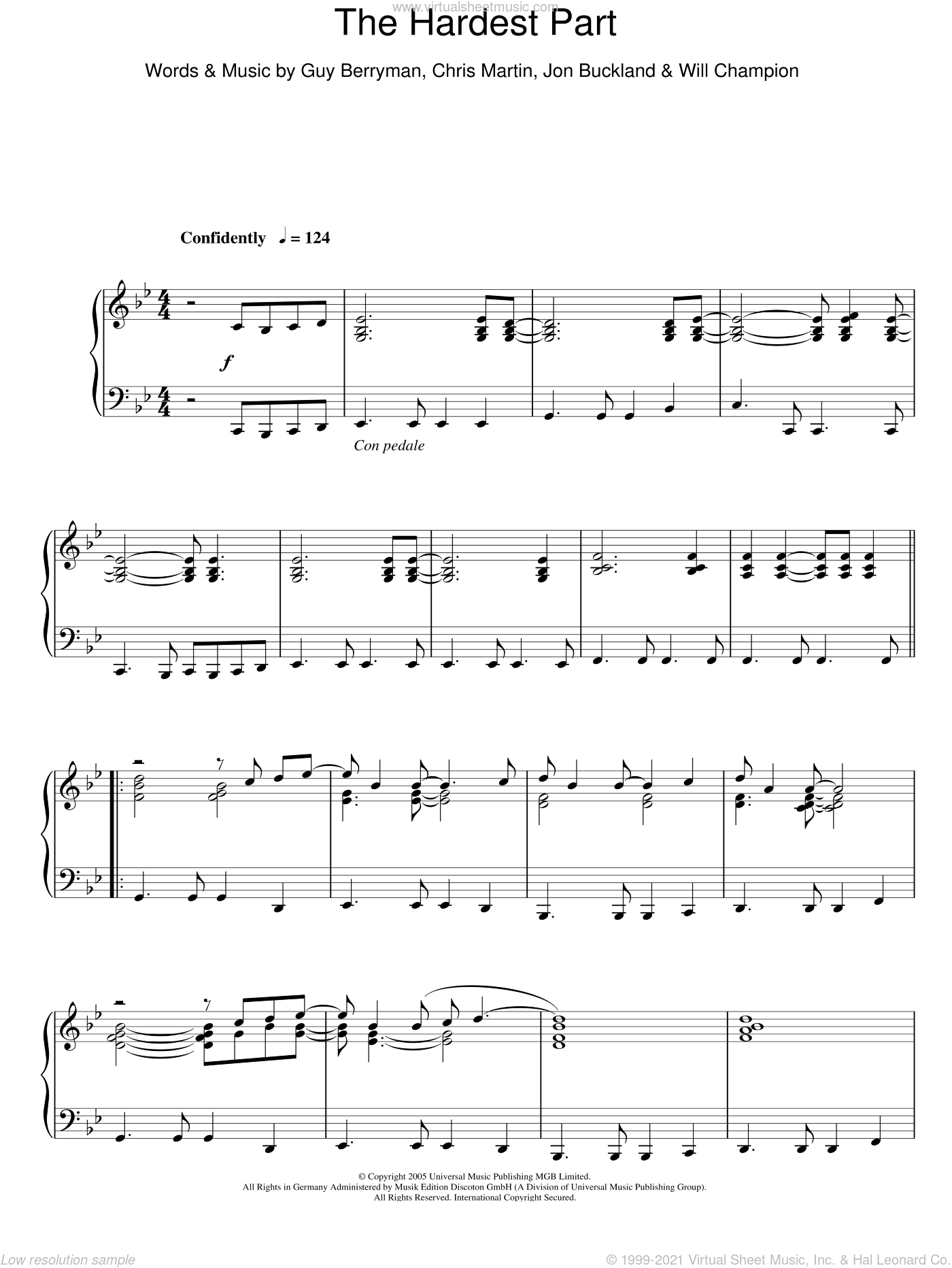 The Hardest Part, (intermediate) sheet music for piano solo by Coldplay, Chris Martin, Guy Berryman, Jon Buckland and Will Champion, intermediate skill level