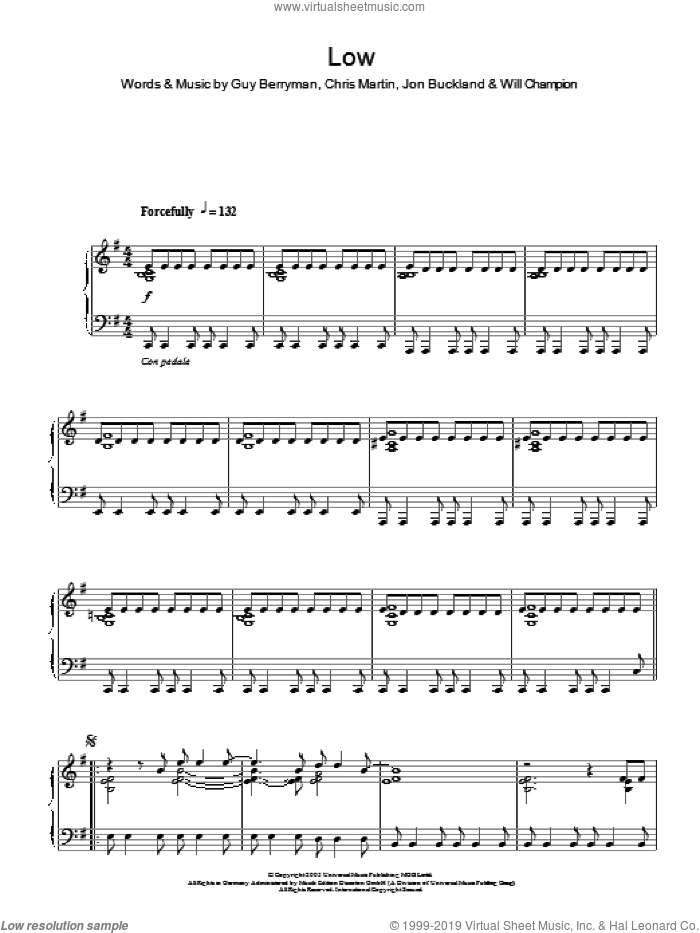 Low sheet music for piano solo by Coldplay, Chris Martin, Guy Berryman, Jon Buckland and Will Champion, intermediate skill level