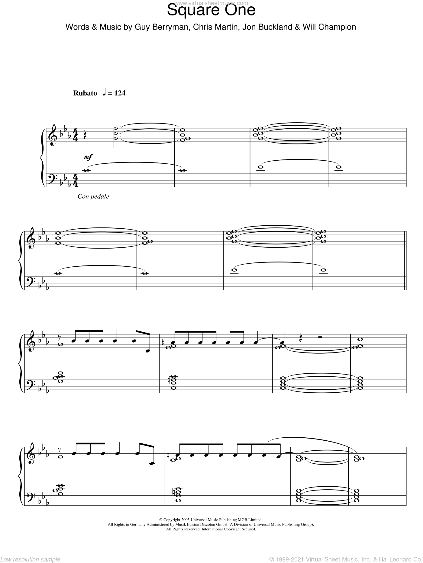 Square One sheet music for piano solo by Coldplay, Chris Martin, Guy Berryman, Jon Buckland and Will Champion, intermediate. Score Image Preview.