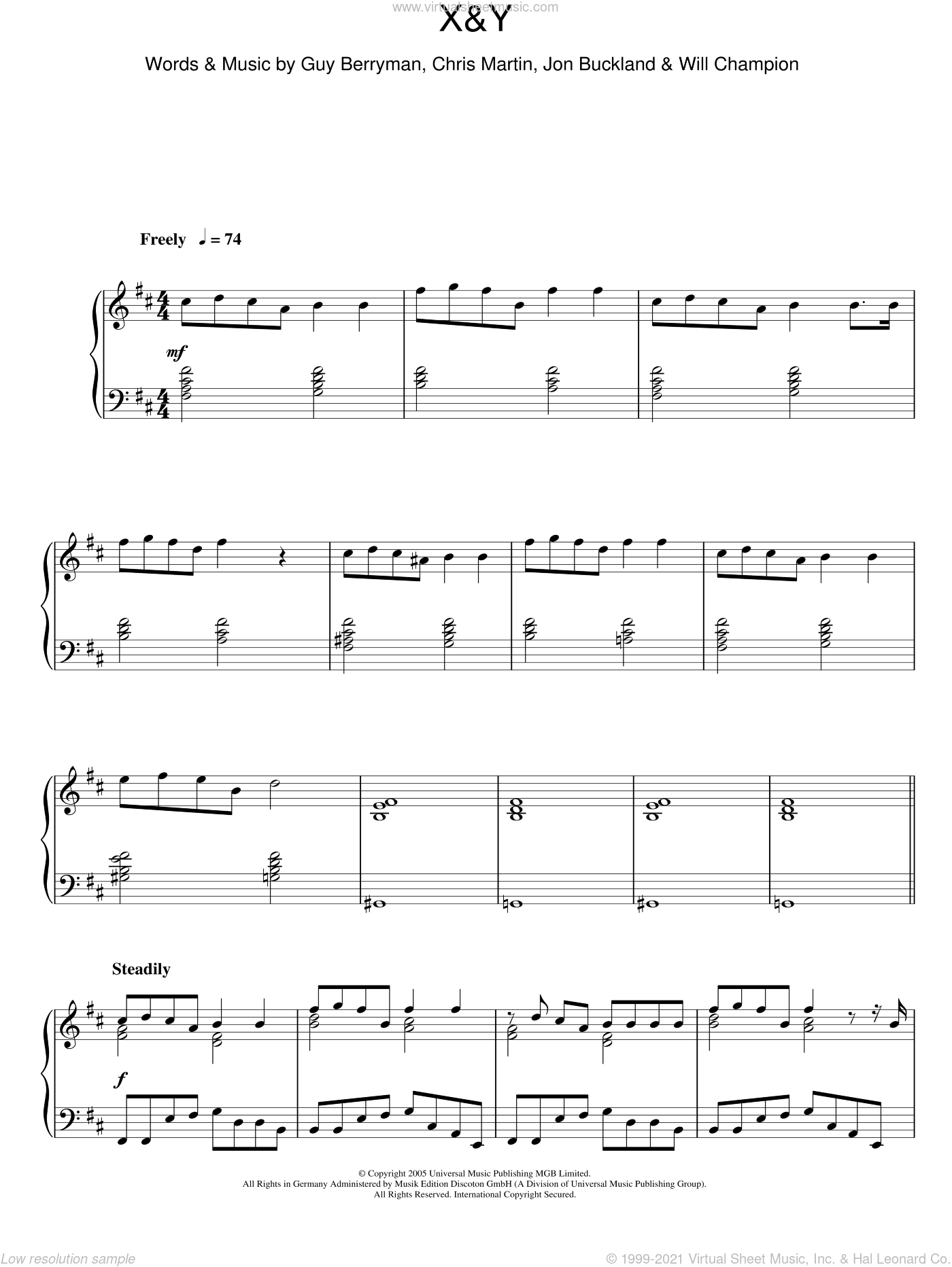 X&Y sheet music for piano solo by Will Champion, Coldplay, Chris Martin, Guy Berryman and Jon Buckland. Score Image Preview.