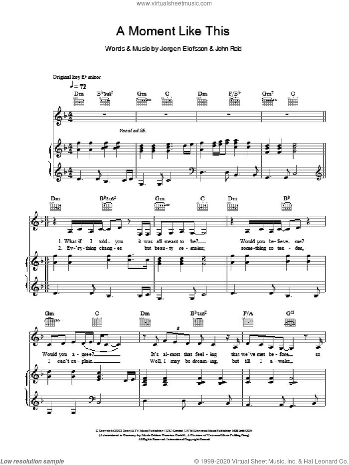 A Moment Like This sheet music for voice, piano or guitar by Jorgen Elofsson, Leona Lewis and John Reid