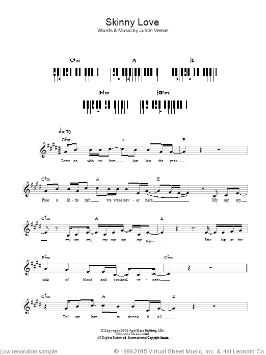 Skinny Love sheet music for piano solo (chords, lyrics, melody) by Justin Vernon