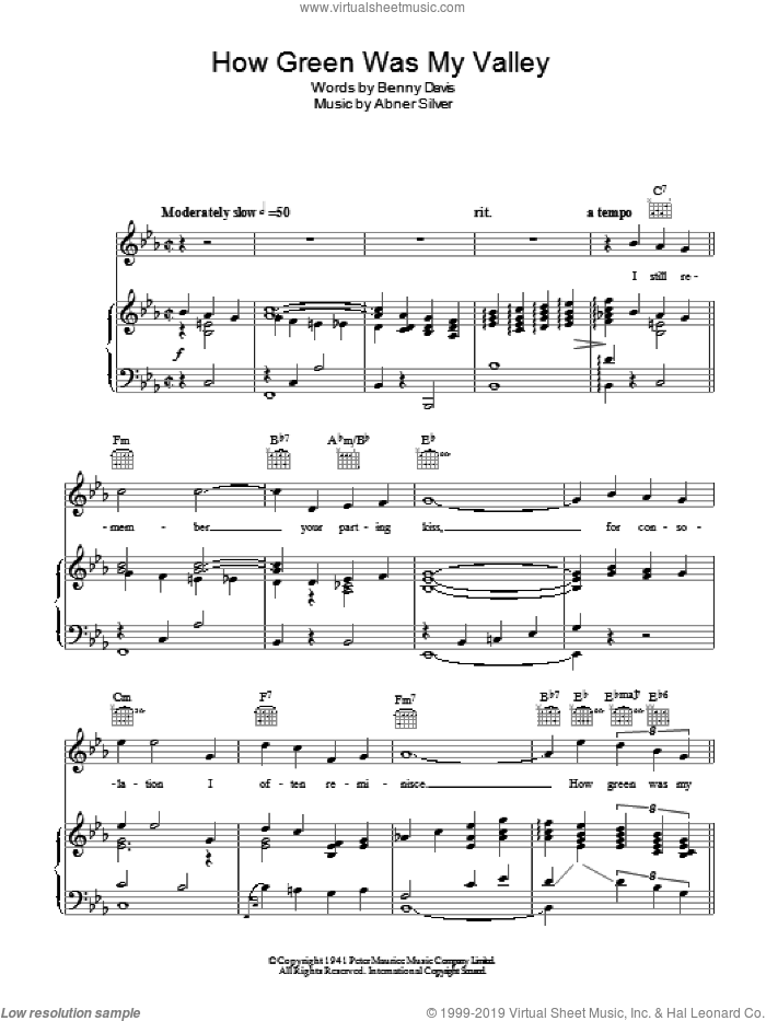 How Green Was My Valley sheet music for voice, piano or guitar by Vera Lynn, Abner Silver and Benny Davis, intermediate skill level