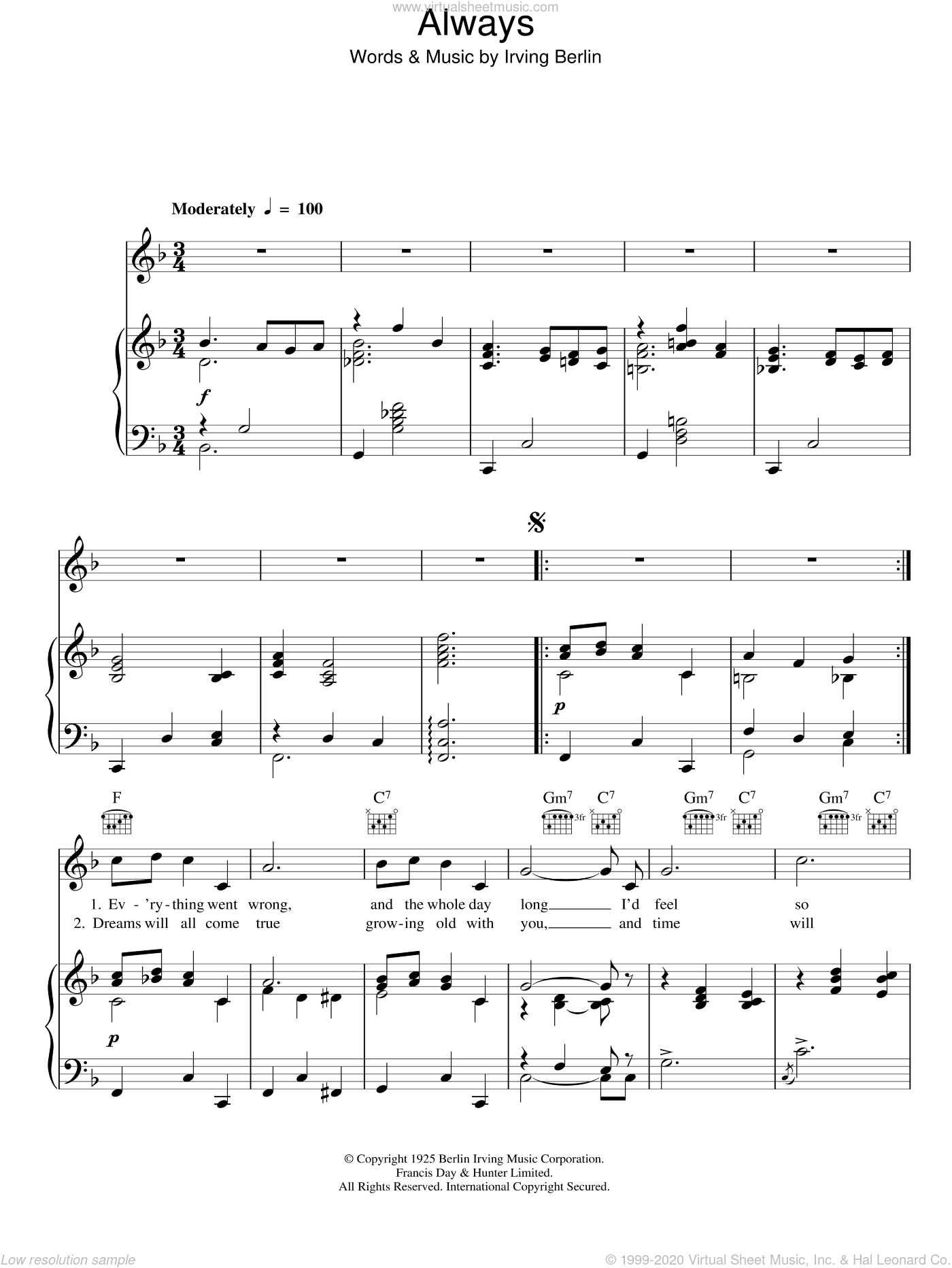 Always sheet music for voice, piano or guitar by Frank Sinatra and Irving Berlin, intermediate skill level