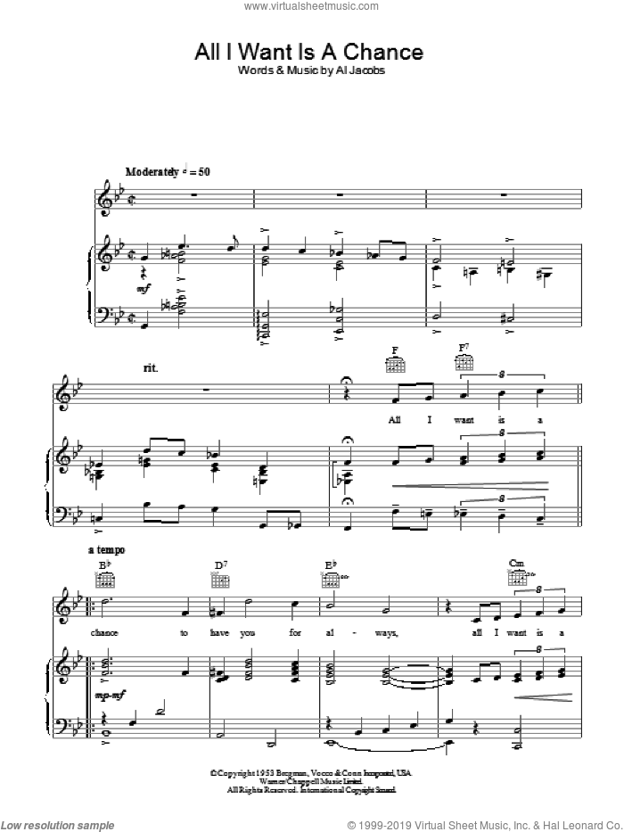 All I Want Is A Chance sheet music for voice, piano or guitar by Al Jacobs. Score Image Preview.