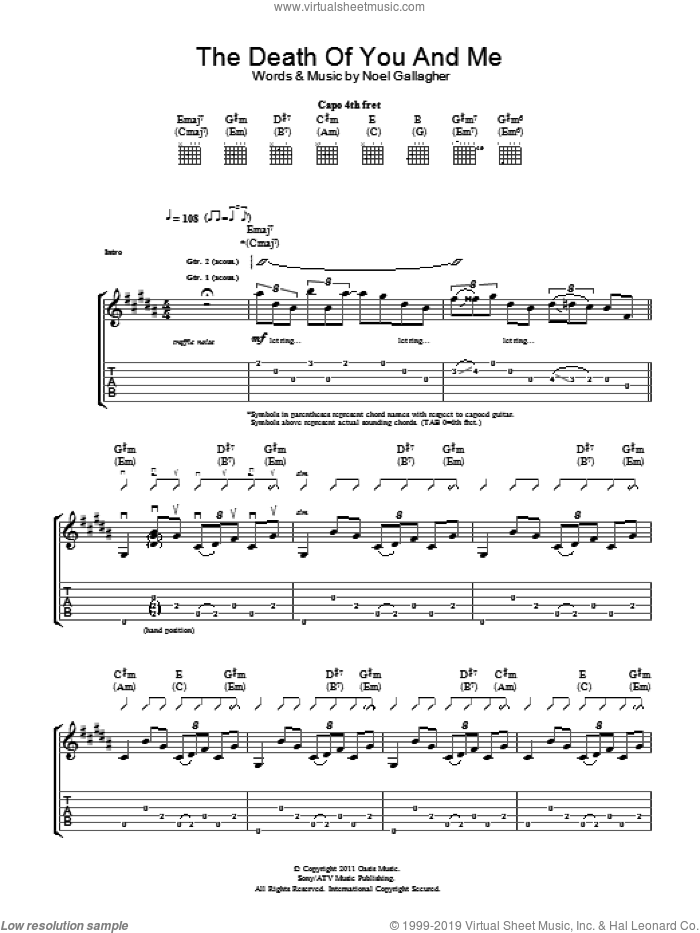 The Death Of You And Me sheet music for guitar (tablature) by Noel Gallagher. Score Image Preview.
