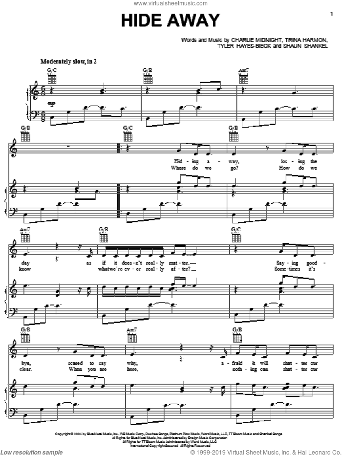 Hide Away sheet music for voice, piano or guitar by Tyler Hayes-Bieck, Hilary Duff, Charlie Midnight, Shaun Shankel and Trina Harmon. Score Image Preview.