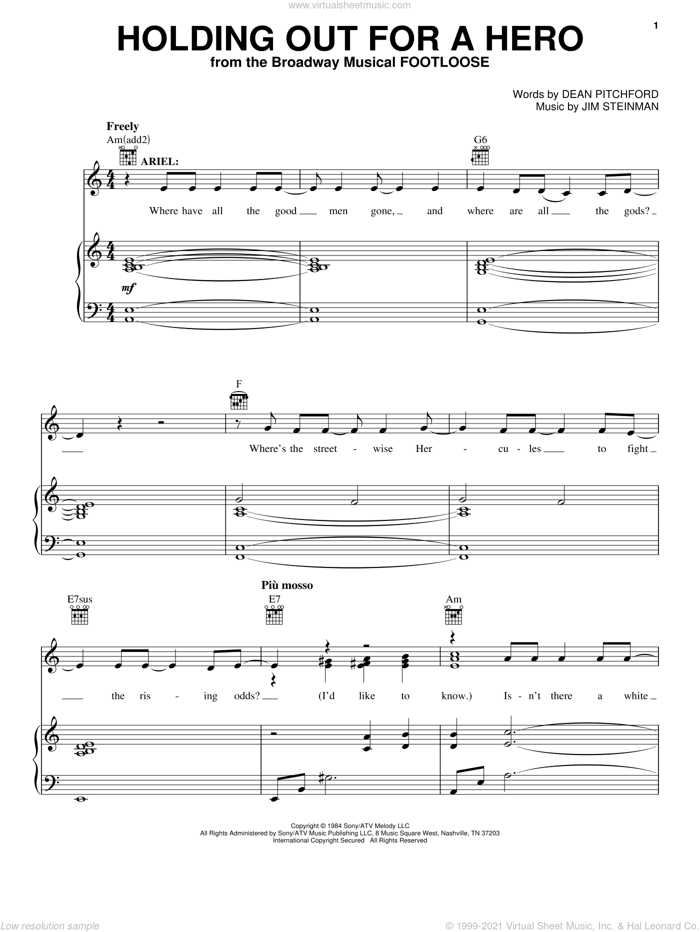Holding Out For A Hero sheet music for voice, piano or guitar by Bonnie Tyler, Dean Pitchford and Jim Steinman. Score Image Preview.