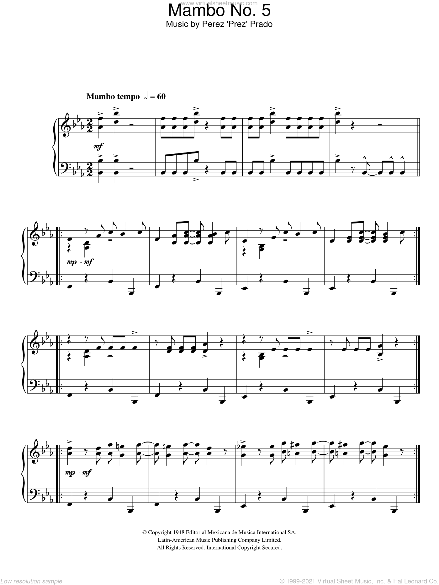 Mambo No. 5 (A Little Bit Of...) sheet music for piano solo by Lou Bega and Perez Prado. Score Image Preview.