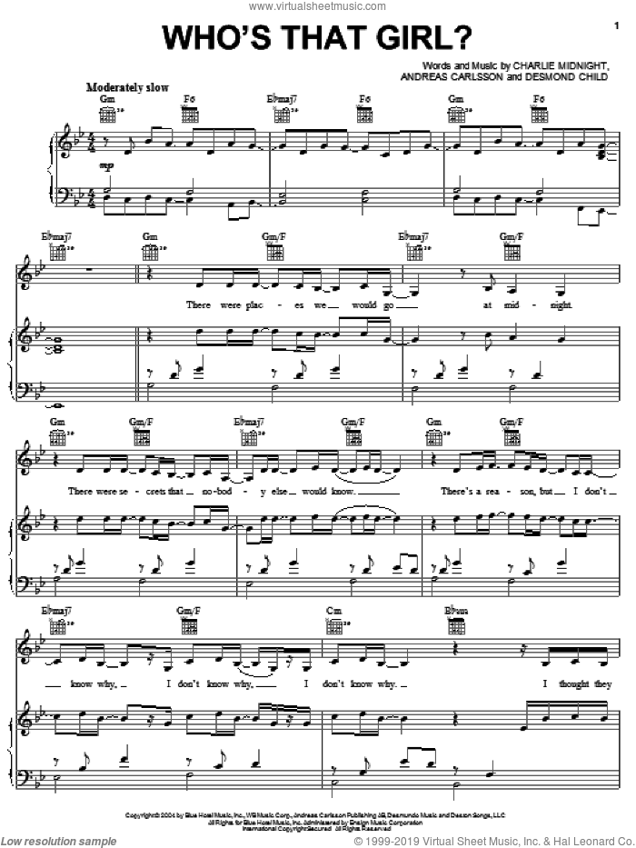 Who's That Girl? sheet music for voice, piano or guitar by Hilary Duff, Andreas Carlsson, Charlie Midnight and Desmond Child, intermediate skill level