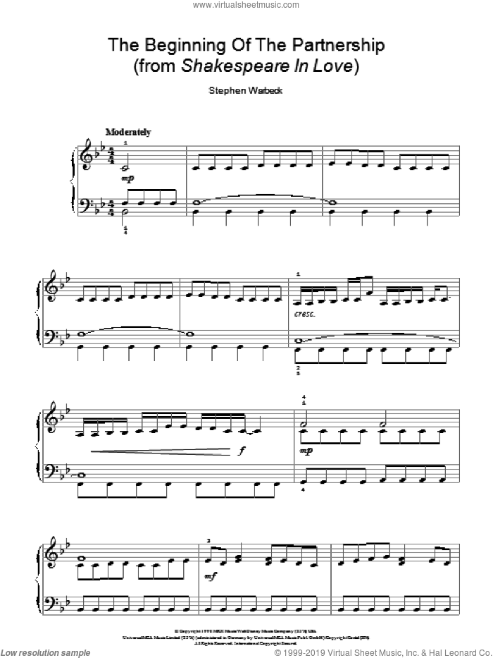 The Beginning Of The Partnership (from Shakespeare In Love) sheet music for piano solo by Stephen Warbeck. Score Image Preview.