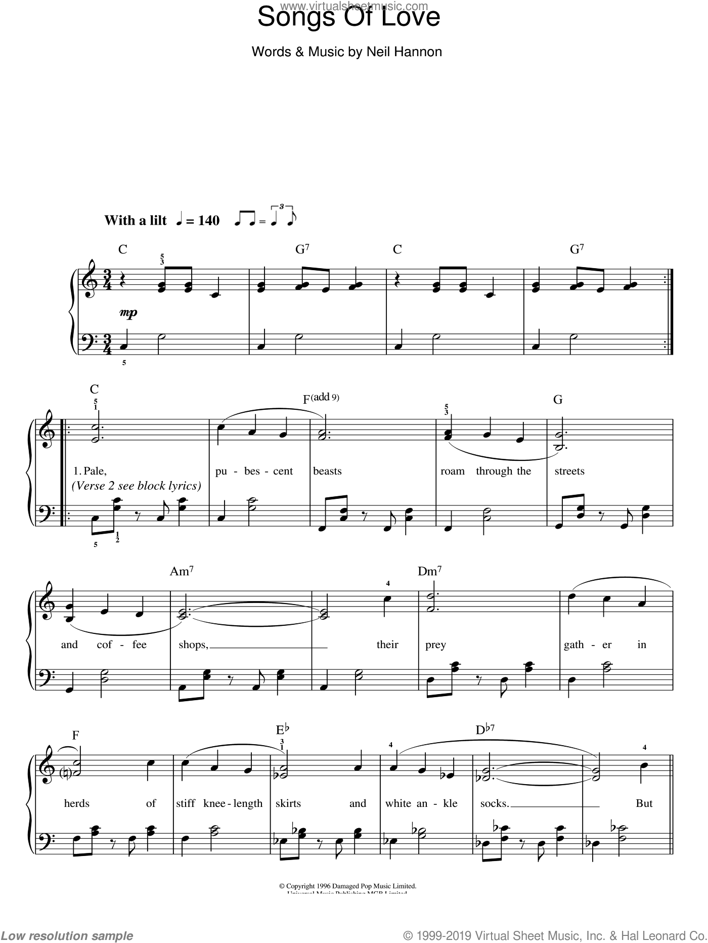 Songs Of Love sheet music for piano solo (chords) by Neil Hannon