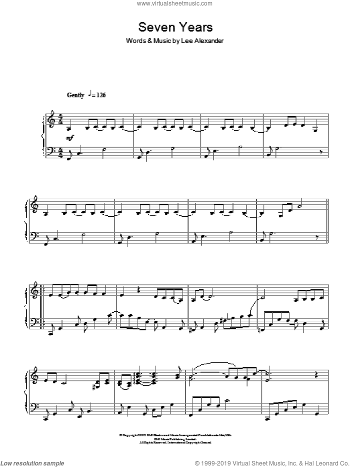 Seven Years, (intermediate) sheet music for piano solo by Norah Jones and Lee Alexander, intermediate skill level