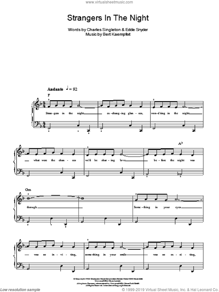 Strangers In The Night sheet music for piano solo (chords) by Eddie Snyder