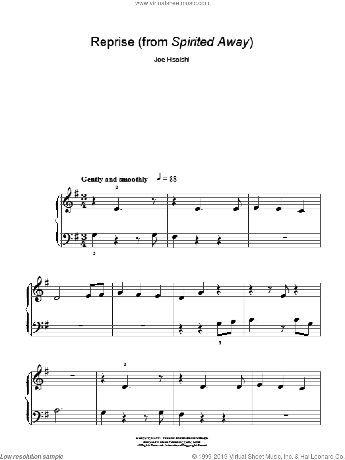 Reprise . . . sheet music for piano solo by Spirited Away and Joe Hisaishi. Score Image Preview.
