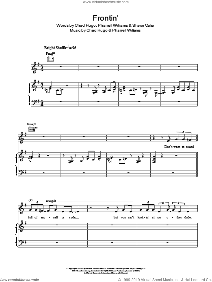 Frontin' sheet music for voice, piano or guitar by Shawn Carter, Jamie Cullum, Pharrell Williams and Chad Hugo. Score Image Preview.