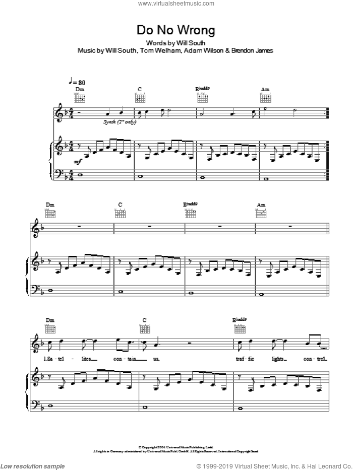 Do No Wrong sheet music for voice, piano or guitar by Thirteen Senses, intermediate voice, piano or guitar. Score Image Preview.