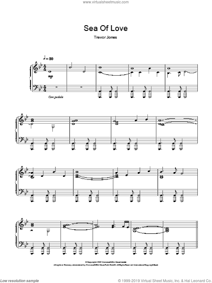 Sea Of Love (Fear And Passion) sheet music for piano solo by Trevor Jones, intermediate. Score Image Preview.