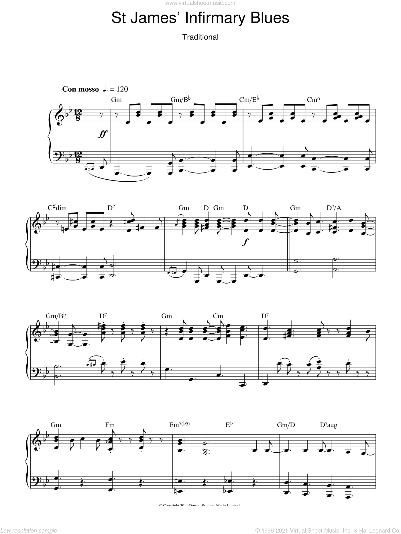 Saint James Infirmary sheet music for piano solo. Score Image Preview.
