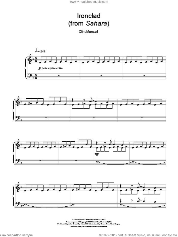 Ironclad (from Sahara) sheet music for piano solo by Clint Mansell, intermediate piano. Score Image Preview.