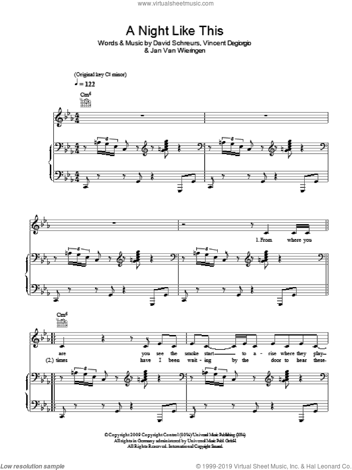 A Night Like This sheet music for voice, piano or guitar by Caro Emerald, David Schreurs, Jan van Wieringen and Vincent Degiorgio, intermediate skill level