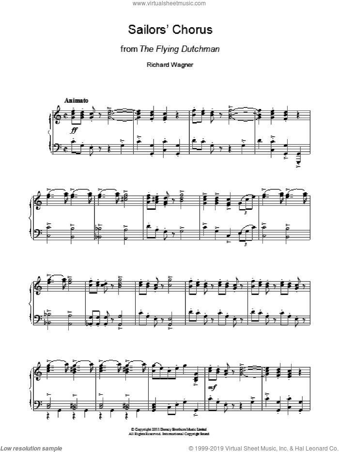 Sailors' Chorus (from The Flying Dutchman) sheet music for piano solo by Richard Wagner, classical score, intermediate. Score Image Preview.
