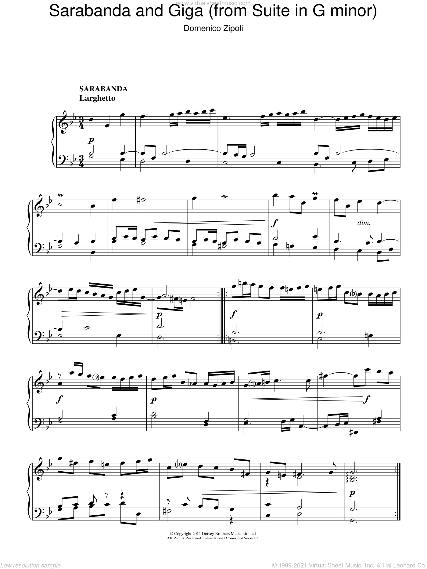 Sarabanda And Giga (from The Suite In G Minor) sheet music for piano solo by Domenico Zipoli, classical score, intermediate. Score Image Preview.