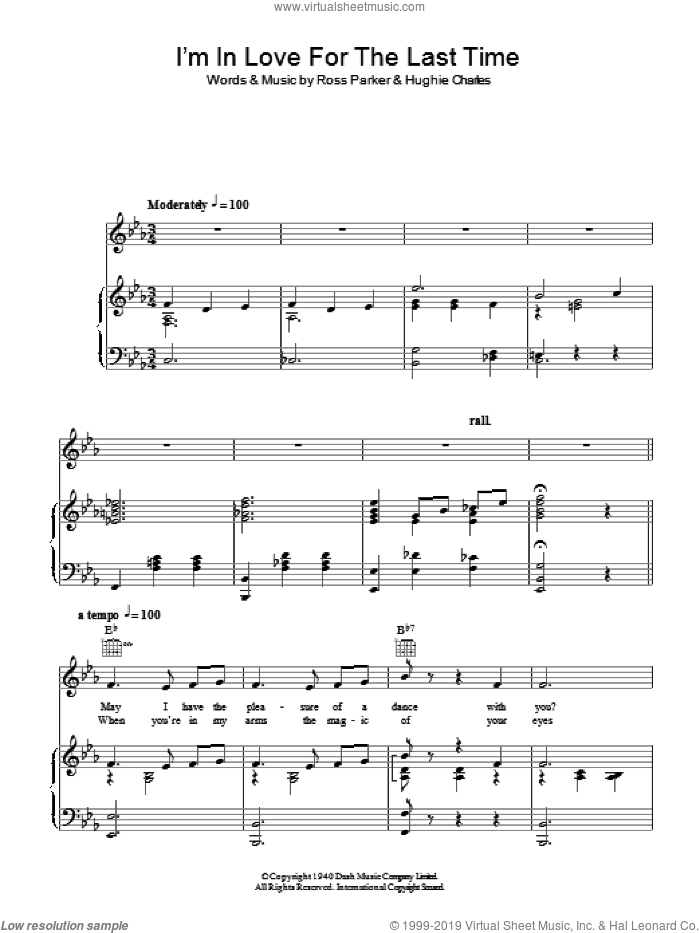 I'm In Love For The Last Time sheet music for voice and piano by Ross Parker and Hughie Charles, intermediate. Score Image Preview.