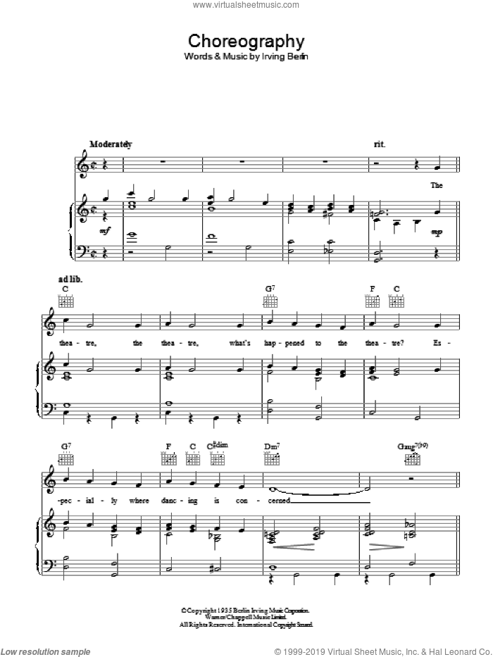 Choreography sheet music for voice, piano or guitar by Irving Berlin. Score Image Preview.
