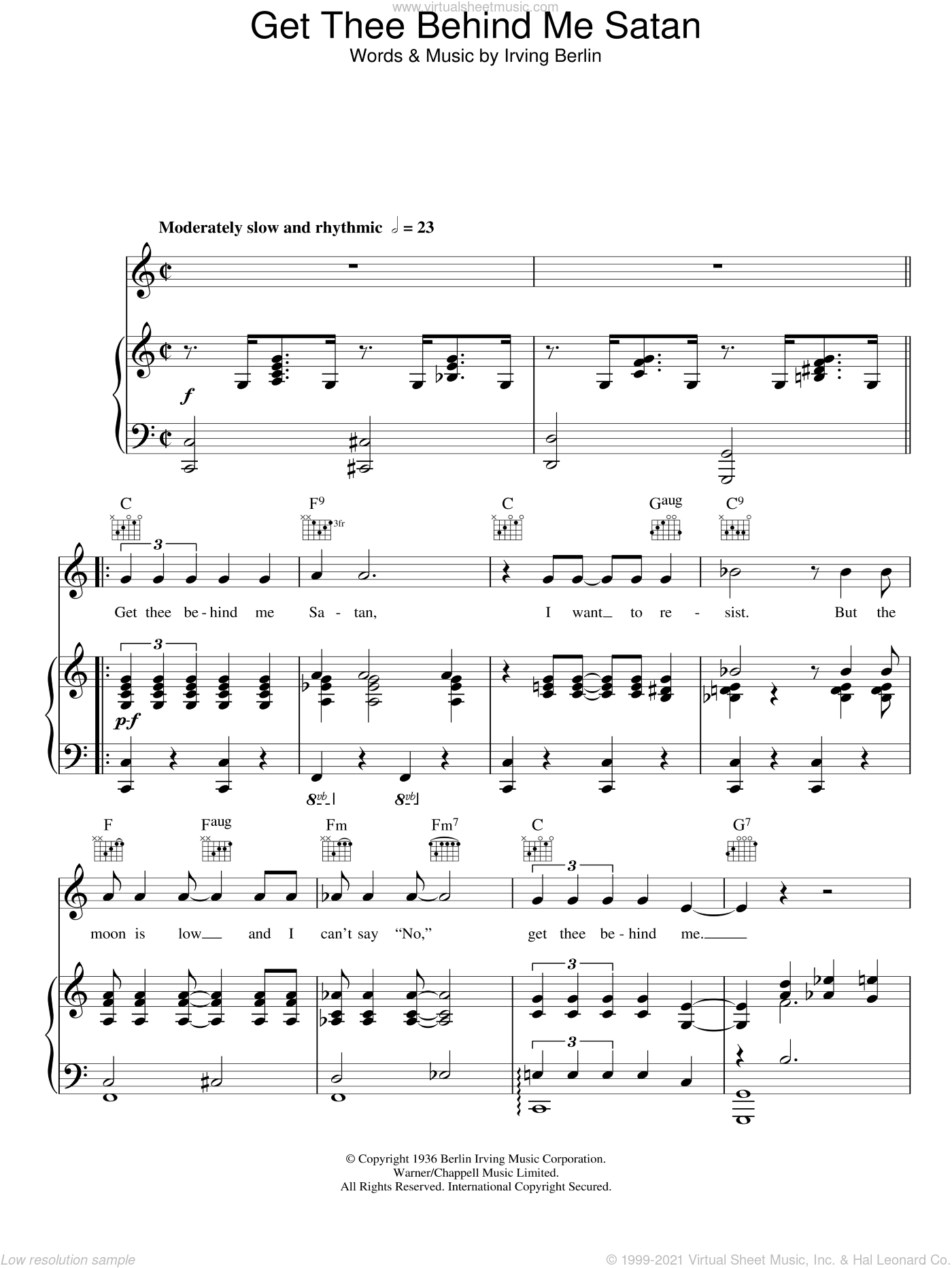 Get Thee Behind Me Satan sheet music for voice, piano or guitar by Irving Berlin. Score Image Preview.