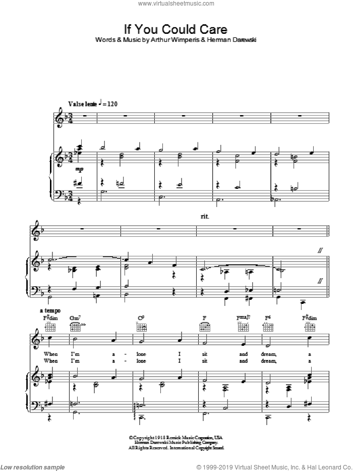 If You Could Care sheet music for voice, piano or guitar by Herman Darewski. Score Image Preview.